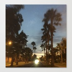 Blurry Palm trees in the street Canvas Print