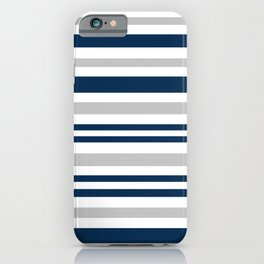 Horizontal stripes , gray , blue ,white iPhone Case