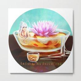 Koi Fish Mermaid Lotus Metal Print