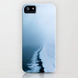 Infinite and minimal black sand beach in Iceland - Landscape Photography iPhone Case