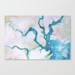 Charleston South Carolina Watercolor Map Typography Art Canvas Print