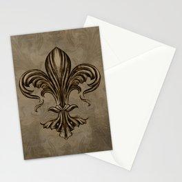Vintage Fleur-de-lis Sepia Stationery Cards