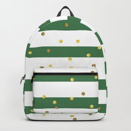 Christmas White and Green and Christmas Golden confetti Backpack