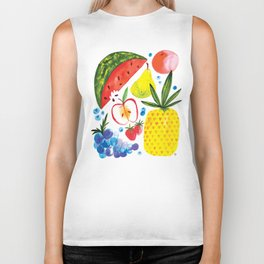Fruit Watercolor - Pineapple, Watermelon, Strawberry Biker Tank
