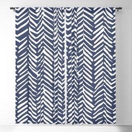 Boho Herringbone Pattern, Navy Blue and White Blackout Curtain