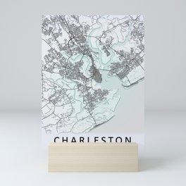 Charleston, SC, USA, White, City, Map Mini Art Print