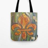 fleur de lis Tote Bags featuring Fleur De Lis by Crystal Nero