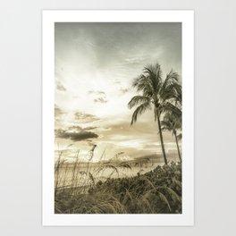 Vintage BONITA BEACH Bright Sunset Art Print