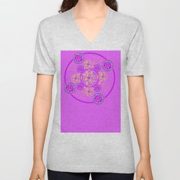 Mandala Purple and Yellow Unisex V-Neck