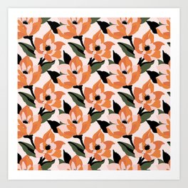 Bold orange poppy on a soft pink base Art Print