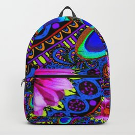 BOHEMIAN BLUE GYPSY PEACOCK FUCHSIA FLORAL Backpack