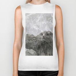 A cloud of white birds Biker Tank