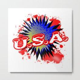 USA Comic Exclamation Metal Print