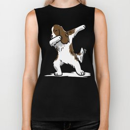 Funny Dabbing English Springer Dog Dab Dance Biker Tank