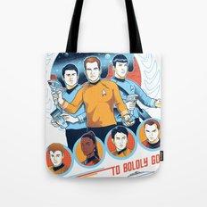 StarTrek To Boldly Go USS Enterprise Pop-Art Tote Bag