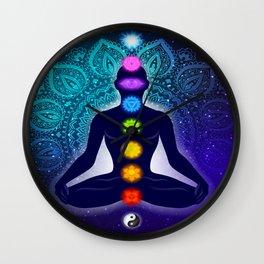 Meditating in Lotus Pose Wall Clock