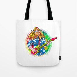 Guitar Playing Hippie for Retro Throwback Lover Tote Bag