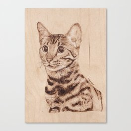 Bengal Cat Portrait - Drawing by Burning on Wood - Pyrography art Canvas Print
