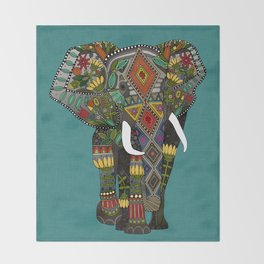 floral elephant teal Throw Blanket