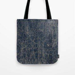 Rustic blue white wood gold floral Tote Bag