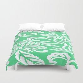 Green Japanese Leaf Pattern Duvet Cover