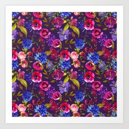 Scattered Bright Pink, Purple and Lavender Floral Arrangement with Feathers on Purple Art Print