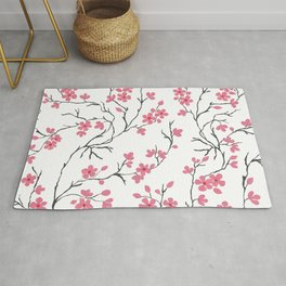 Pink Cherry Blossom Painting Rug