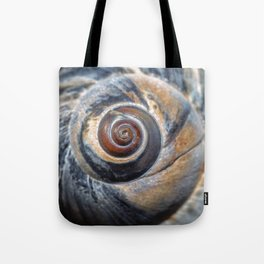 Blue and Gold spiral seashell Tote Bag