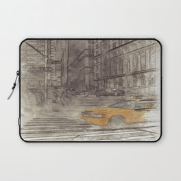 NYC Yellow Cabs Trinity Place - SKETCH Laptop Sleeve