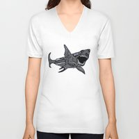 jaws V-neck T-shirts featuring Jaws by Lauren Moore