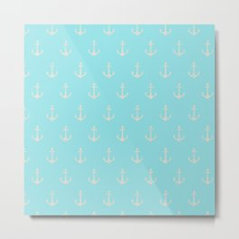 Maritime Teal and White Anchor Pattern Metal Print