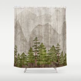 Mountain Range Woodland Forest Shower Curtain