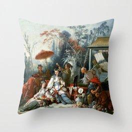 The Chinese Garden - Francois Boucher Throw Pillow