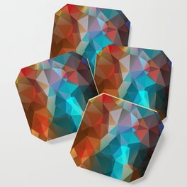 Abstract bright background of triangles polygon print illustration Coaster