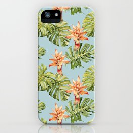 Watercolor exotic rainforest flowers and leaves pattern iPhone Case