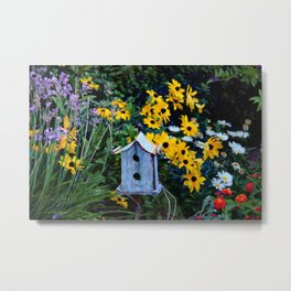 Birdhouse in the Garden Metal Print