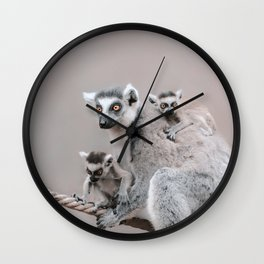 RINGTAILED LEMUR FAMILY by Monika Strigel Wall Clock