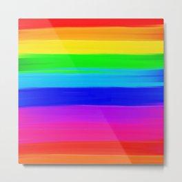 Modern rainbow brushstrokes paint striped pattern Metal Print
