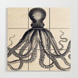 Octopus | Black and White Wood Wall Art