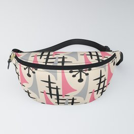 Mid Century Modern Atomic Wing Composition Pink & Grey Fanny Pack