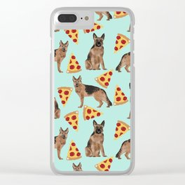 German Shepherd pizza party dog person gifts pet portraits dog breeds cheesy pizzas Clear iPhone Case