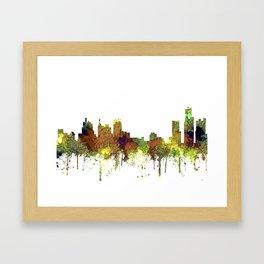 Detroit, Michigan Skyline SG - Spring Buff Framed Art Print