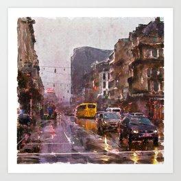 Rainy Day Traffic Art Print