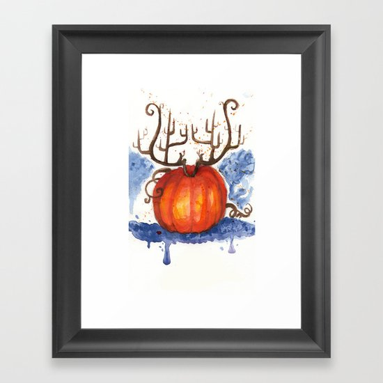 Deer Pumpkin Framed Art Print