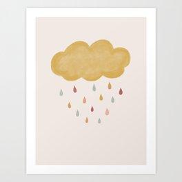 Cloud and Raindrops Art Print