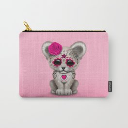 Pink Day of the Dead Sugar Skull White Lion Cub Carry-All Pouch
