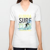 surf V-neck T-shirts featuring surf by ulas okuyucu