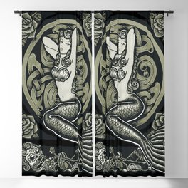 Vintage Classic Mermaid Pinup Blackout Curtain
