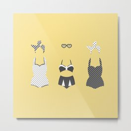 Retro Bathing Suits- Yellow and Charcoal Metal Print