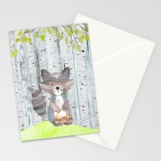 The adorable Racoon- Woodland Friends- Watercolor Illustration Stationery Cards